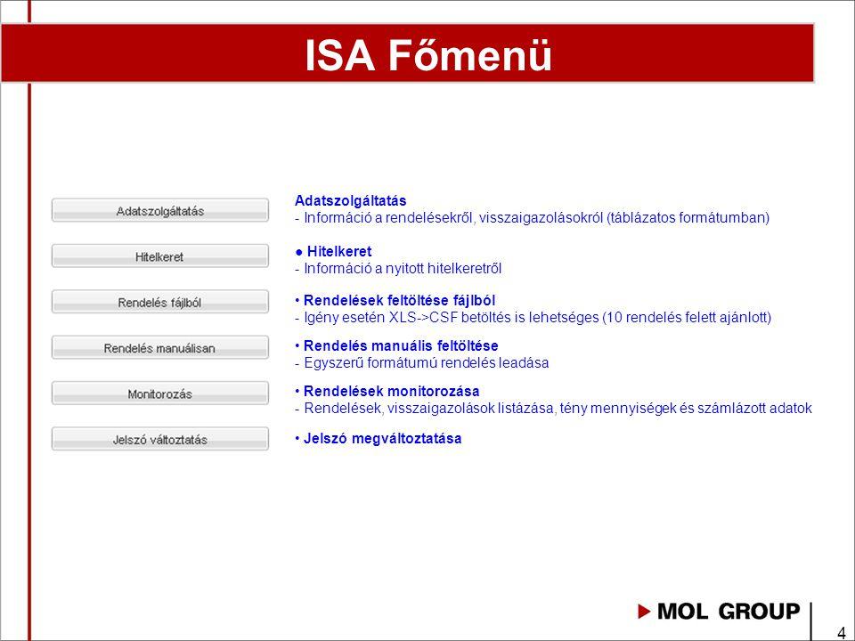 4 Adatszolgáltatás - Információ a rendelésekről, visszaigazolásokról (táblázatos formátumban) ● Hitelkeret - Információ a nyitott hitelkeretről • Rendelések feltöltése fájlból - Igény esetén XLS->CSF betöltés is lehetséges (10 rendelés felett ajánlott) • Rendelés manuális feltöltése - Egyszerű formátumú rendelés leadása • Rendelések monitorozása - Rendelések, visszaigazolások listázása, tény mennyiségek és számlázott adatok • Jelszó megváltoztatása ISA Főmenü
