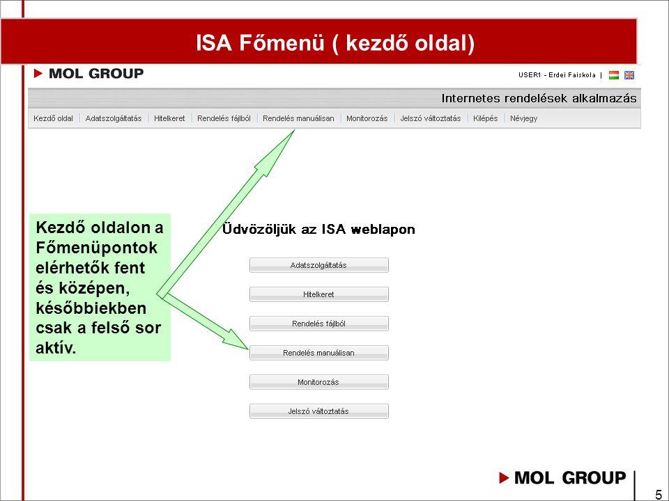 5 ISA Főmenü ( kezdő oldal) Kezdő oldalon a Főmenüpontok elérhetők fent és középen, későbbiekben csak a felső sor aktív.