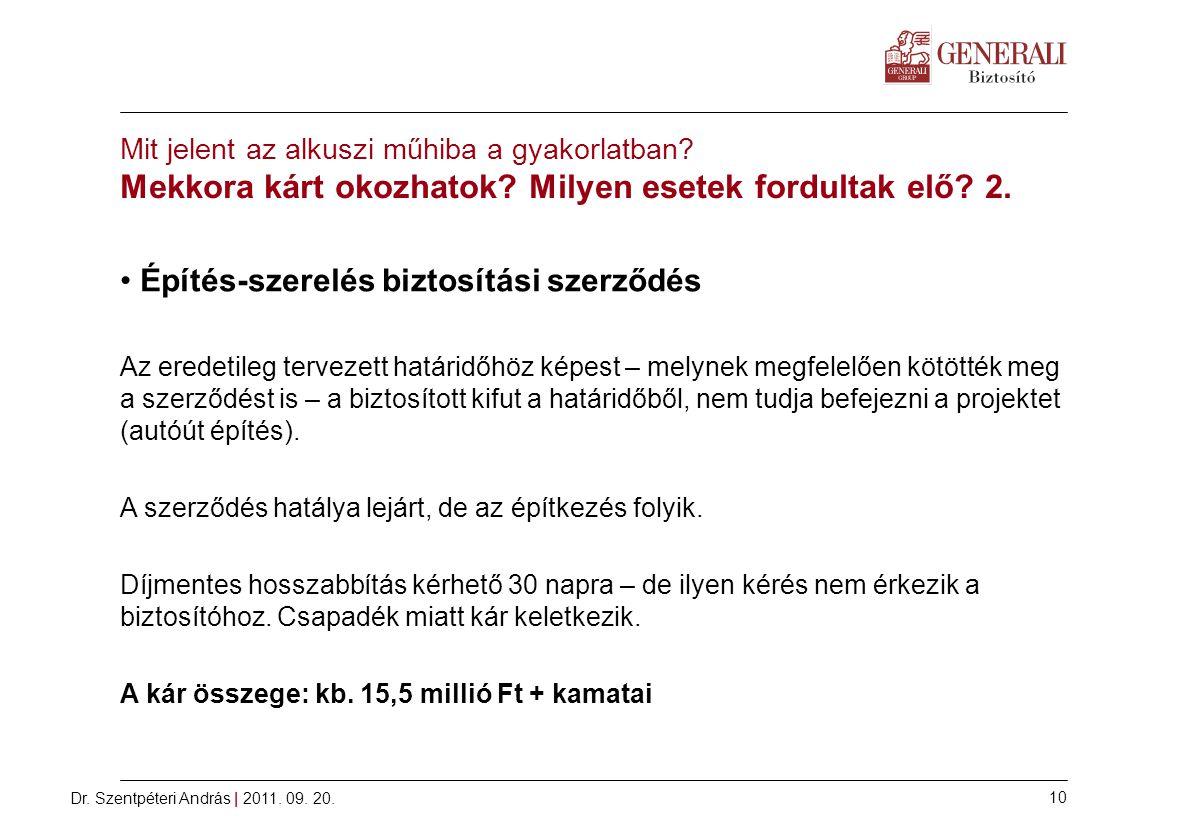 Dr.Szentpéteri András | 2011. 09. 20. 10 Mit jelent az alkuszi műhiba a gyakorlatban.