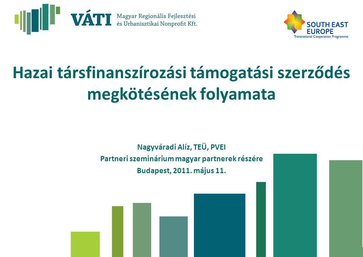 Hazai társfinanszírozási támogatási szerződés megkötésének folyamata Nagyváradi Alíz, TEÜ, PVEI Partneri szeminárium magyar partnerek részére Budapest