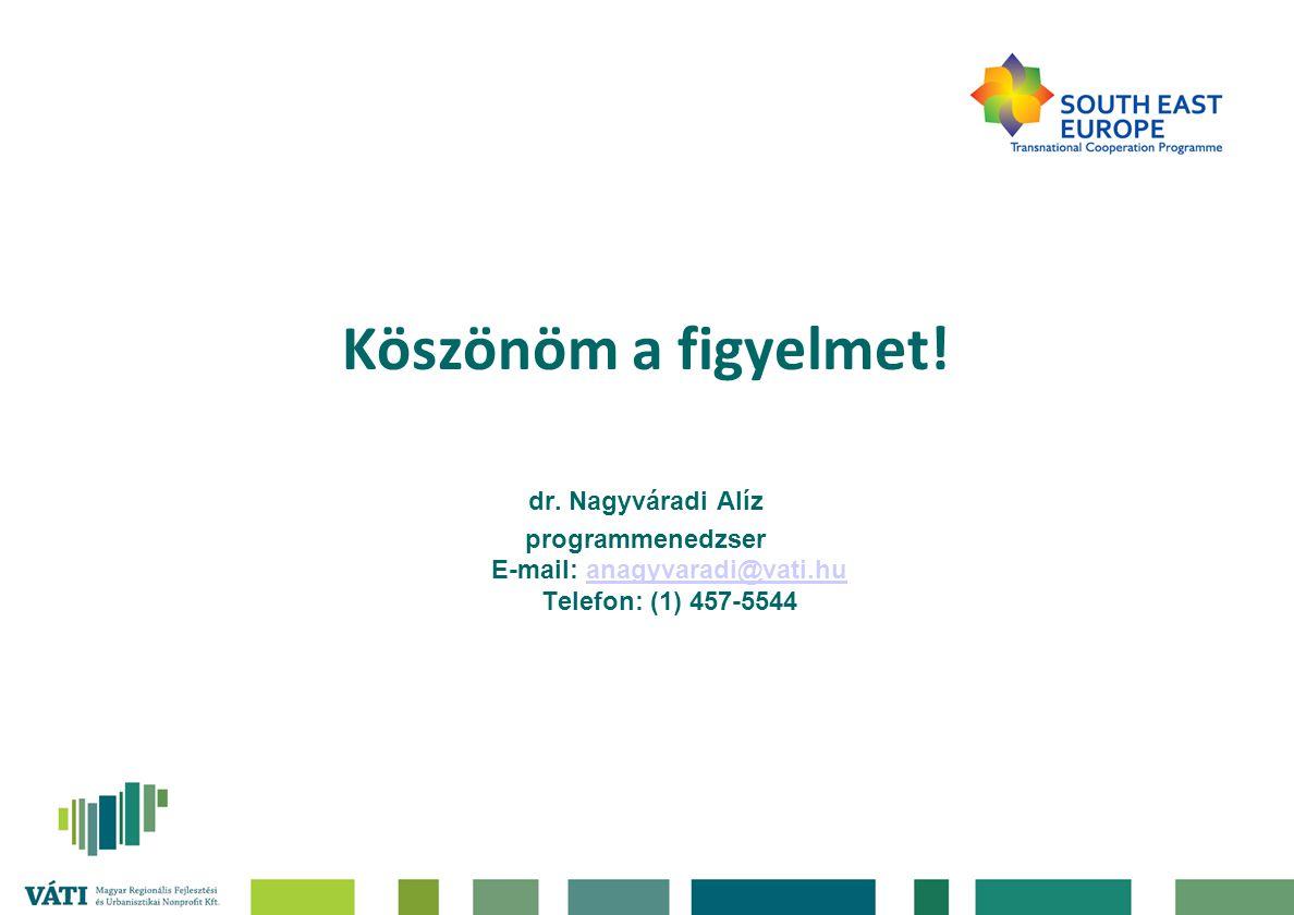 Köszönöm a figyelmet! dr. Nagyváradi Alíz programmenedzser E-mail: anagyvaradi@vati.hu Telefon: (1) 457-5544anagyvaradi@vati.hu