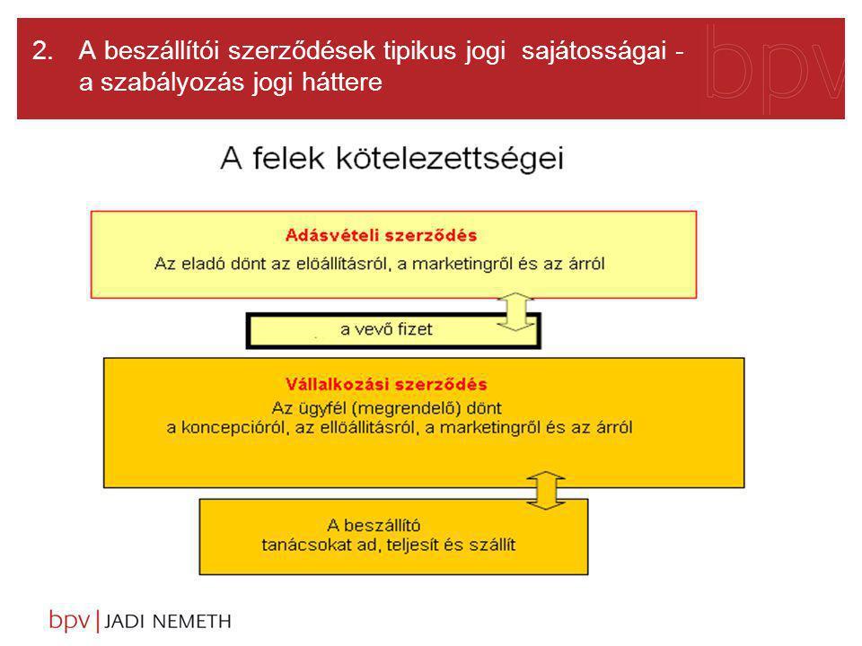 2. A beszállítói szerződések tipikus jogi sajátosságai - a szabályozás jogi háttere