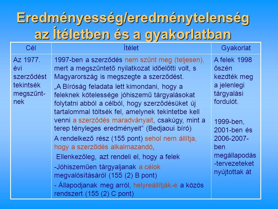 Eredményesség/eredménytelenség az Ítéletben és a gyakorlatban CélÍtéletGyakorlat Az 1977. évi szerződést tekintsék megszűnt- nek 1997-ben a szerződés