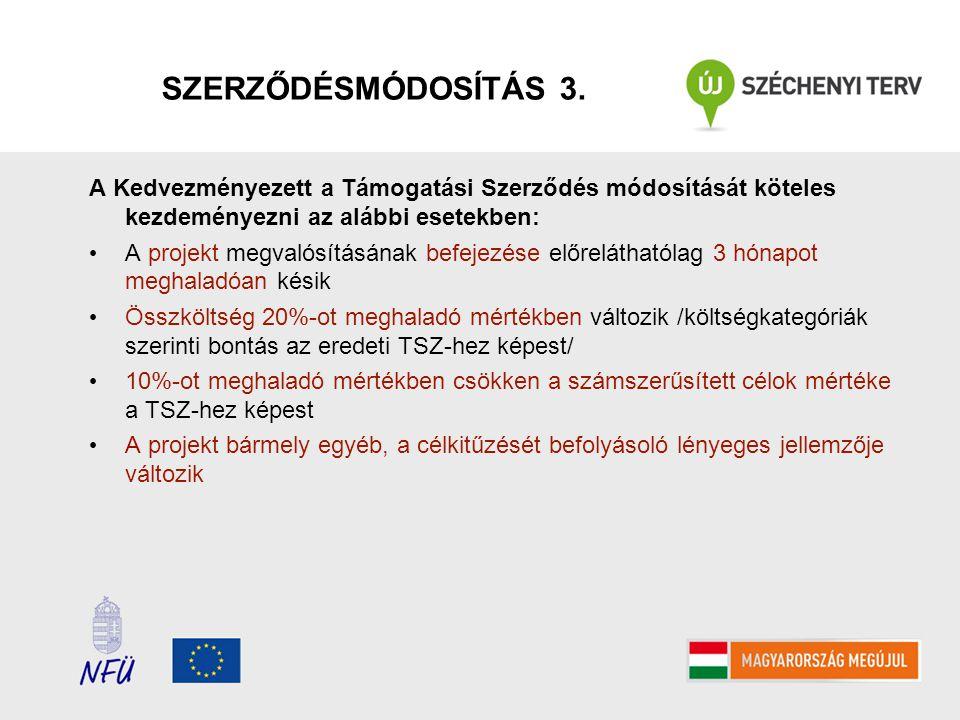 SZERZŐDÉSMÓDOSÍTÁS 3. A Kedvezményezett a Támogatási Szerződés módosítását köteles kezdeményezni az alábbi esetekben: • A projekt megvalósításának bef
