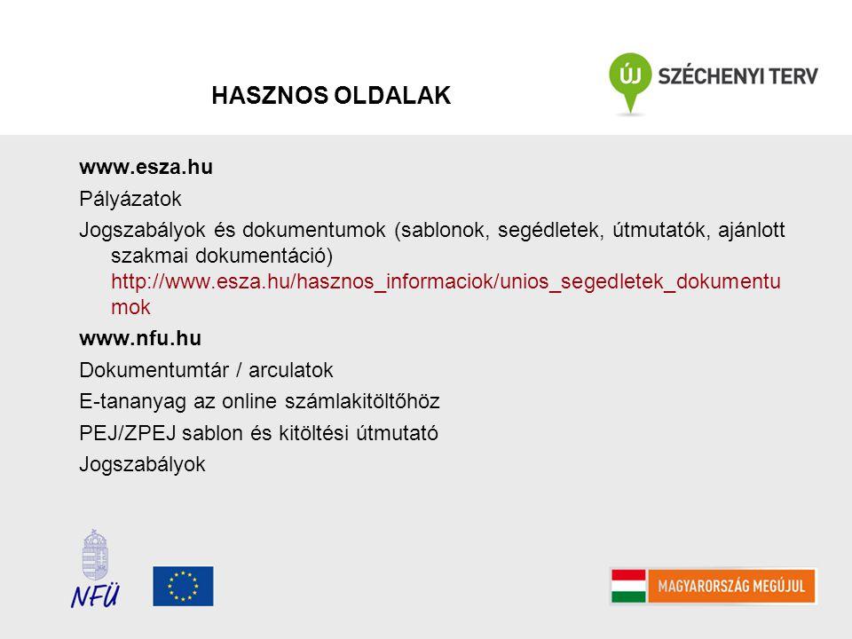 HASZNOS OLDALAK www.esza.hu Pályázatok Jogszabályok és dokumentumok (sablonok, segédletek, útmutatók, ajánlott szakmai dokumentáció) http://www.esza.h