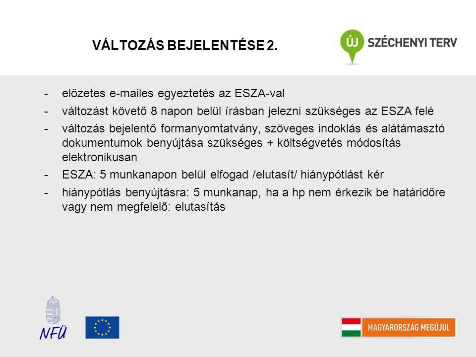 VÁLTOZÁS BEJELENTÉSE 2. -előzetes e-mailes egyeztetés az ESZA-val -változást követő 8 napon belül írásban jelezni szükséges az ESZA felé -változás bej