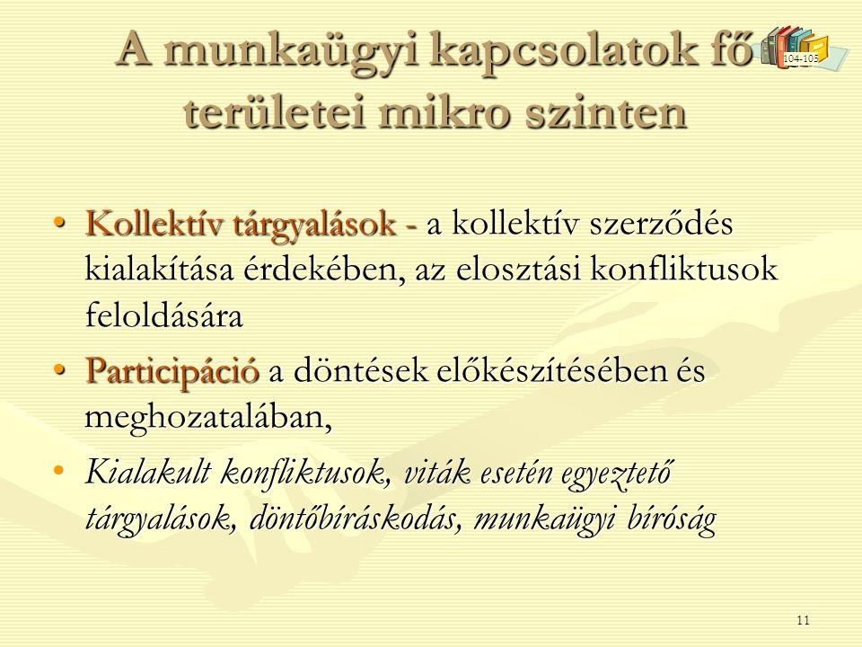 11 A munkaügyi kapcsolatok fő területei mikro szinten •Kollektív tárgyalások - a kollektív szerződés kialakítása érdekében, az elosztási konfliktusok