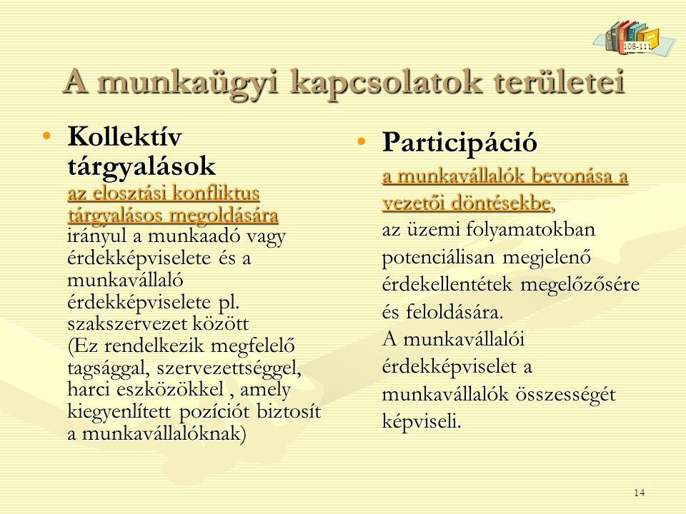 14 A munkaügyi kapcsolatok területei •Kollektív tárgyalások az elosztási konfliktus tárgyalásos megoldására irányul a munkaadó vagy érdekképviselete és a munkavállaló érdekképviselete pl.