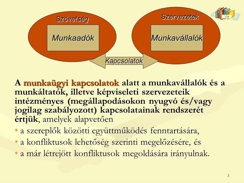 3 A munkaügyi kapcsolatok alatt a munkavállalók és a munkáltatók, illetve képviseleti szervezeteik intézményes (megállapodásokon nyugvó és/vagy jogilag szabályozott) kapcsolatainak rendszerét értjük, amelyek alapvetően • a szereplők közötti együttműködés fenntartására, • a konfliktusok lehetőség szerinti megelzésére, és • a konfliktusok lehetőség szerinti megelőzésére, és • a már létrejött konfliktusok megoldására irányulnak.