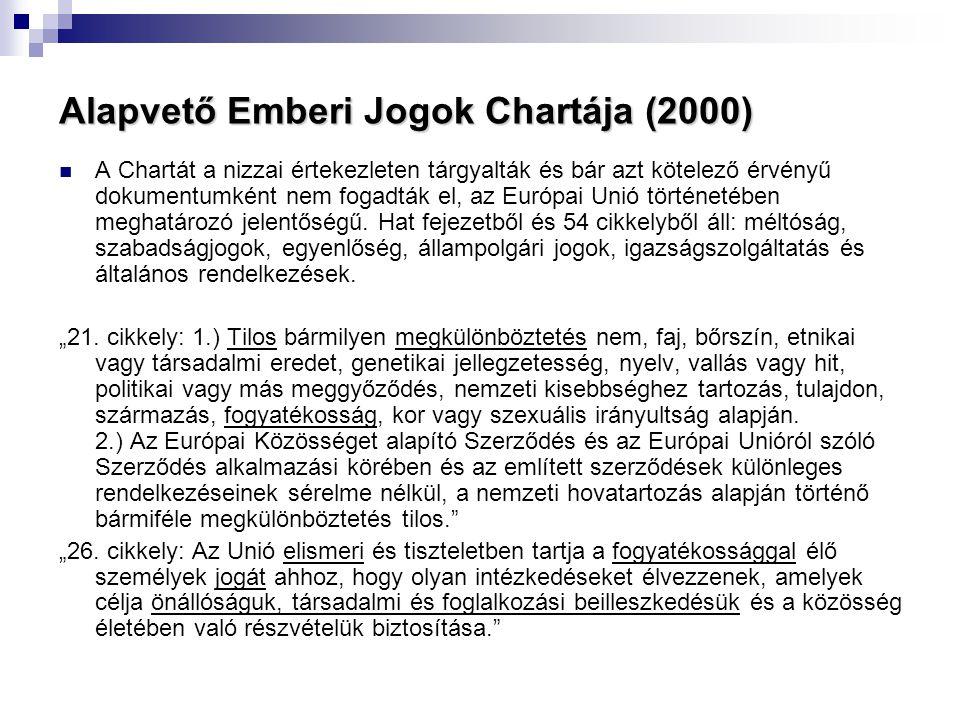 Alapvető Emberi Jogok Chartája (2000)  A Chartát a nizzai értekezleten tárgyalták és bár azt kötelező érvényű dokumentumként nem fogadták el, az Euró