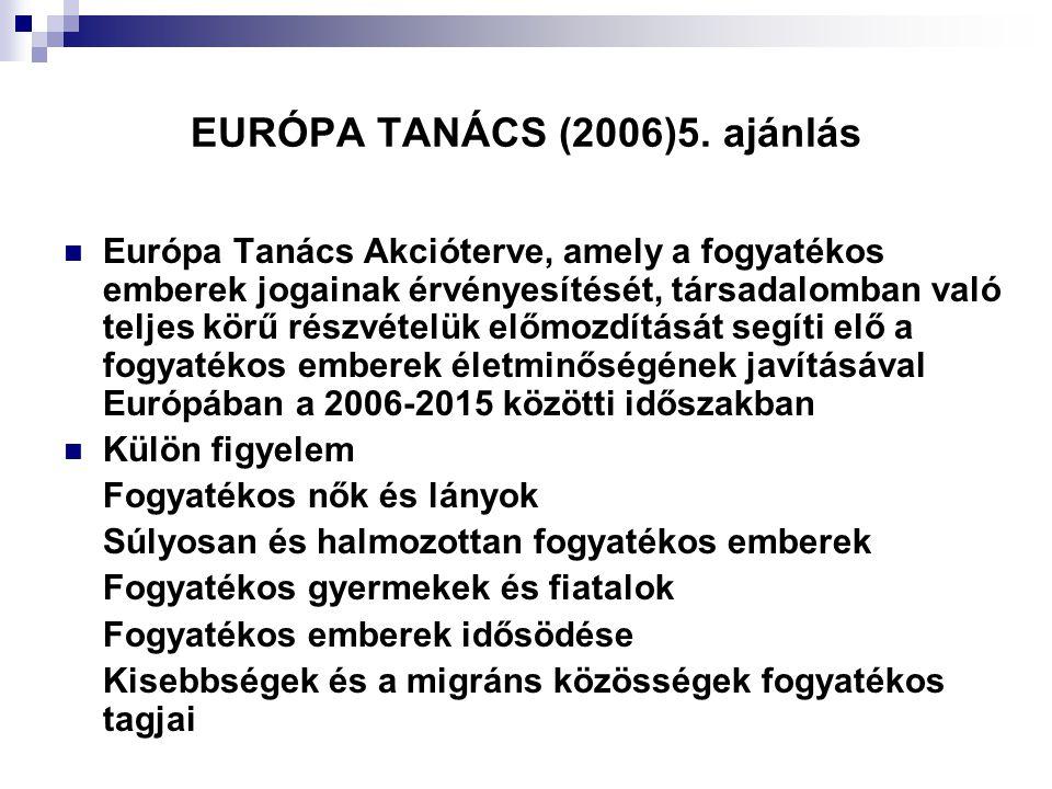 EURÓPA TANÁCS (2006)5. ajánlás  Európa Tanács Akcióterve, amely a fogyatékos emberek jogainak érvényesítését, társadalomban való teljes körű részvéte