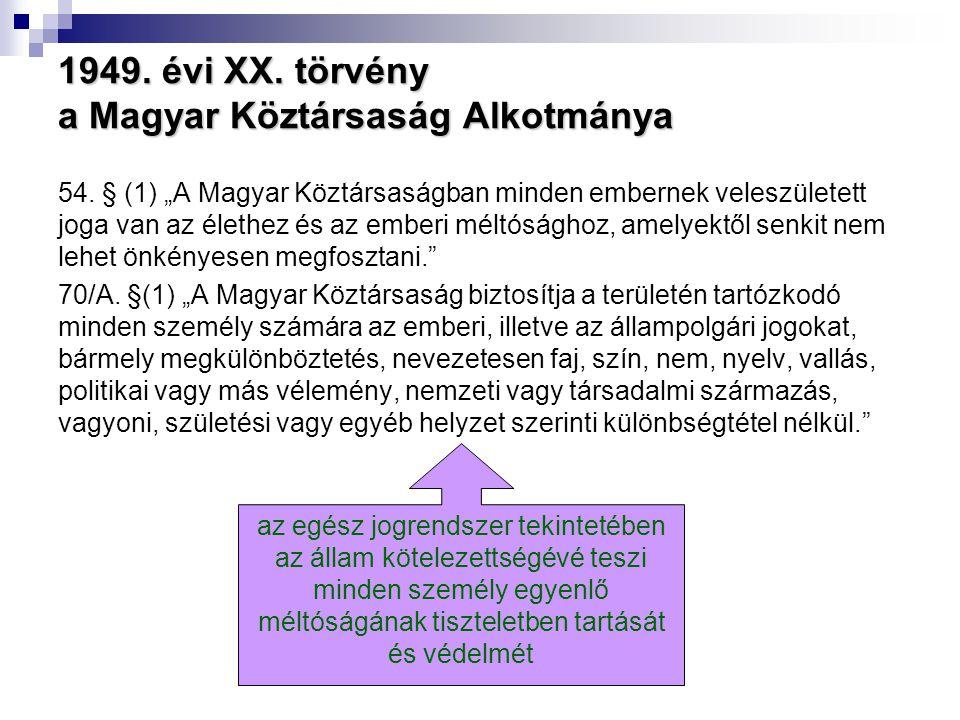 """1949. évi XX. törvény a Magyar Köztársaság Alkotmánya 54. § (1) """"A Magyar Köztársaságban minden embernek veleszületett joga van az élethez és az ember"""