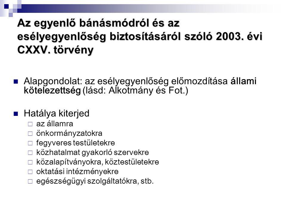 Az egyenlő bánásmódról és az esélyegyenlőség biztosításáról szóló 2003. évi CXXV. törvény  Alapgondolat: az esélyegyenlőség előmozdítása állami kötel