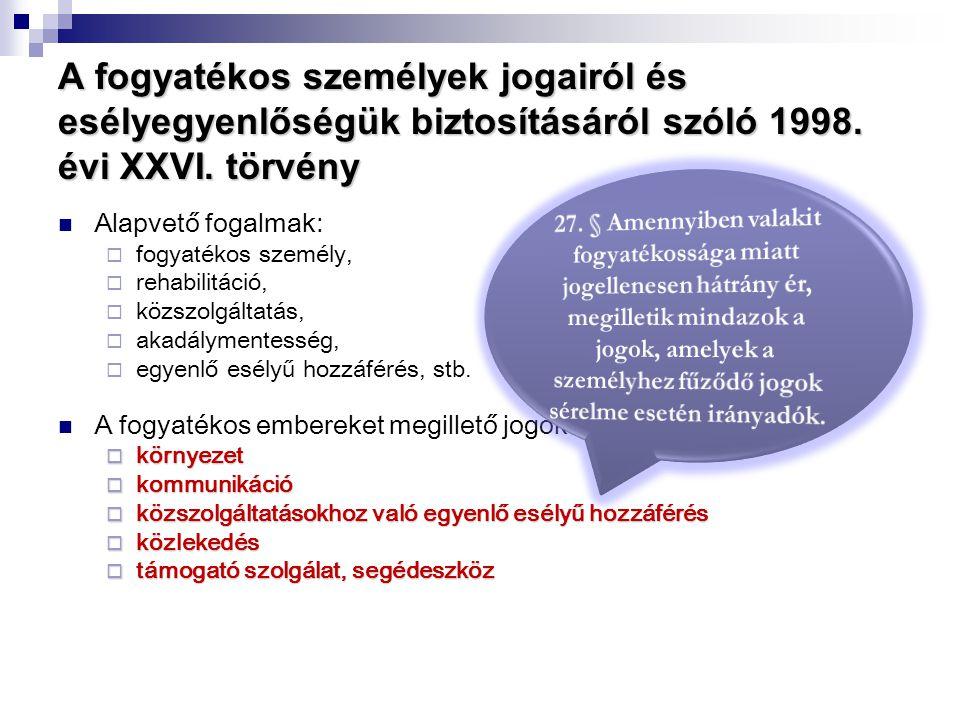 A fogyatékos személyek jogairól és esélyegyenlőségük biztosításáról szóló 1998. évi XXVI. törvény  Alapvető fogalmak:  fogyatékos személy,  rehabil