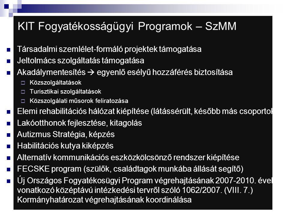 KIT Fogyatékosságügyi Programok – SzMM  Társadalmi szemlélet-formáló projektek támogatása  Jeltolmács szolgáltatás támogatása  Akadálymentesítés 