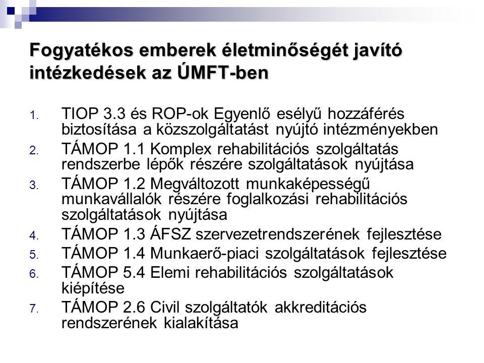 Fogyatékos emberek életminőségét javító intézkedések az ÚMFT-ben 1. TIOP 3.3 és ROP-ok Egyenlő esélyű hozzáférés biztosítása a közszolgáltatást nyújtó