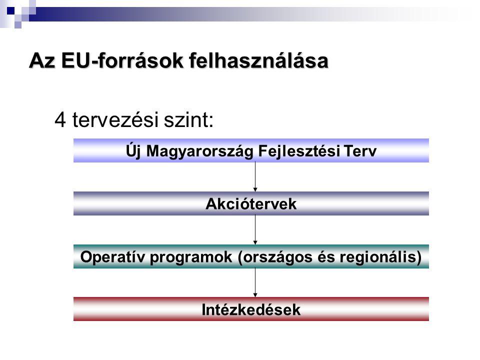 Az EU-források felhasználása 4 tervezési szint: Új Magyarország Fejlesztési Terv Akciótervek Operatív programok (országos és regionális) Intézkedések