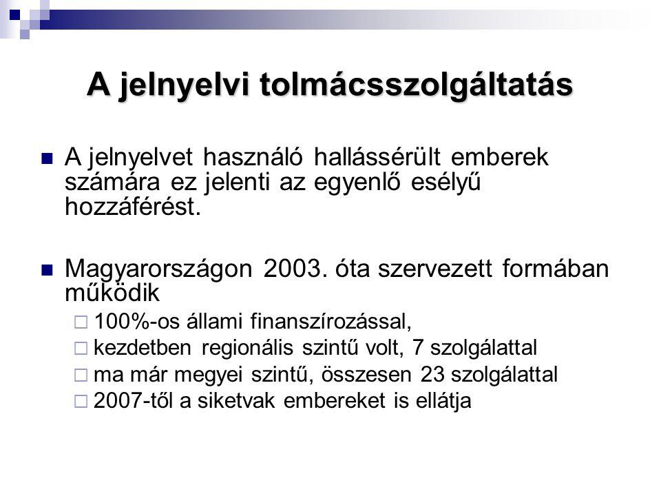 A jelnyelvi tolmácsszolgáltatás  A jelnyelvet használó hallássérült emberek számára ez jelenti az egyenlő esélyű hozzáférést.  Magyarországon 2003.