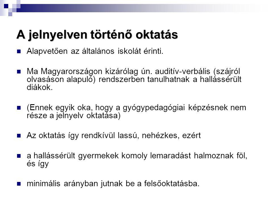A jelnyelven történő oktatás  Alapvetően az általános iskolát érinti.  Ma Magyarországon kizárólag ún. auditív-verbális (szájról olvasáson alapuló)