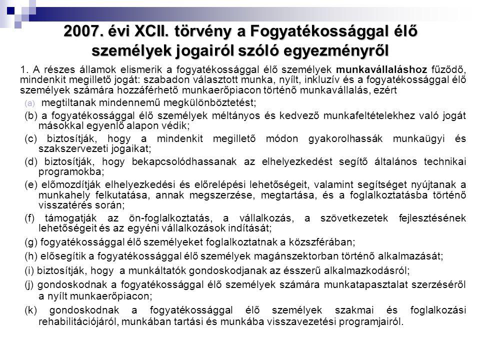 2007. évi XCII. törvény a Fogyatékossággal élő személyek jogairól szóló egyezményről 1. A részes államok elismerik a fogyatékossággal élő személyek mu