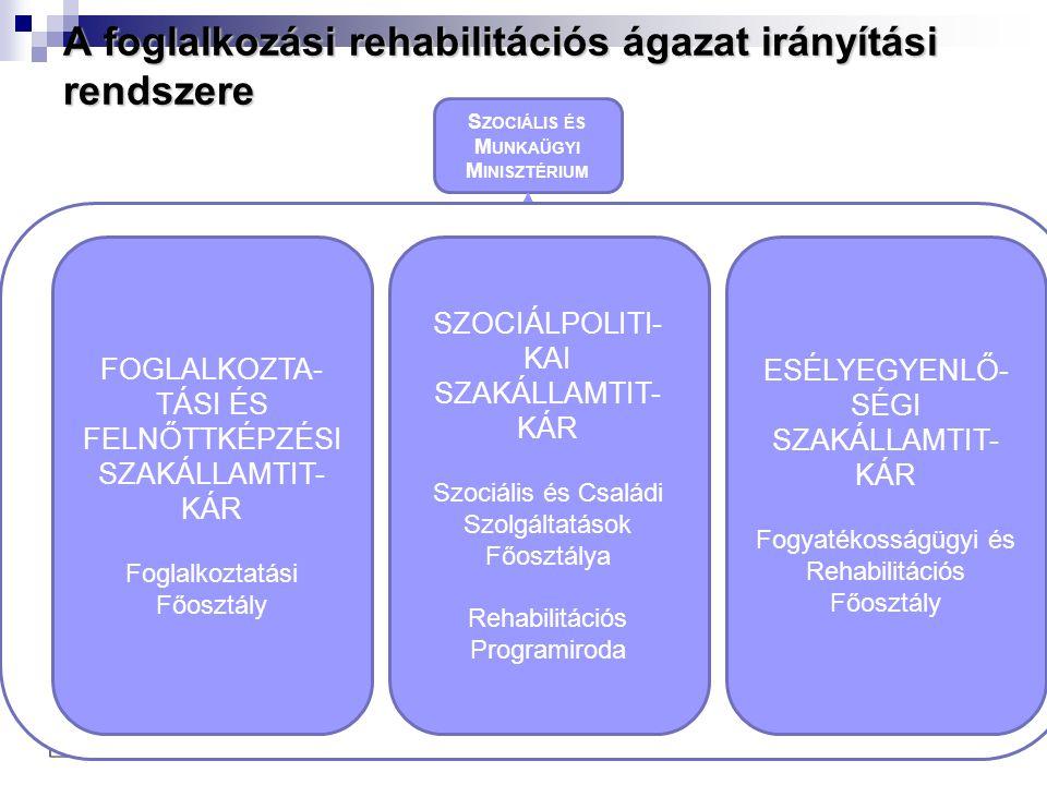 A foglalkozási rehabilitációs ágazat irányítási rendszere S ZOCIÁLIS ÉS M UNKAÜGYI M INISZTÉRIUM Foglalkoztatá si és Szociális Hivatal KM- RMK NYD- RM