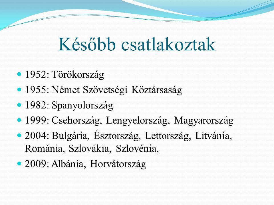 Később csatlakoztak  1952: Törökország  1955: Német Szövetségi Köztársaság  1982: Spanyolország  1999: Csehország, Lengyelország, Magyarország  2