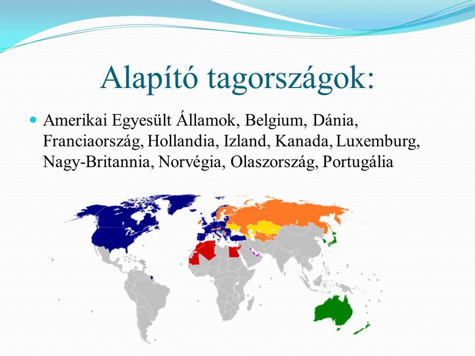 Alapító tagországok:  Amerikai Egyesült Államok, Belgium, Dánia, Franciaország, Hollandia, Izland, Kanada, Luxemburg, Nagy-Britannia, Norvégia, Olasz
