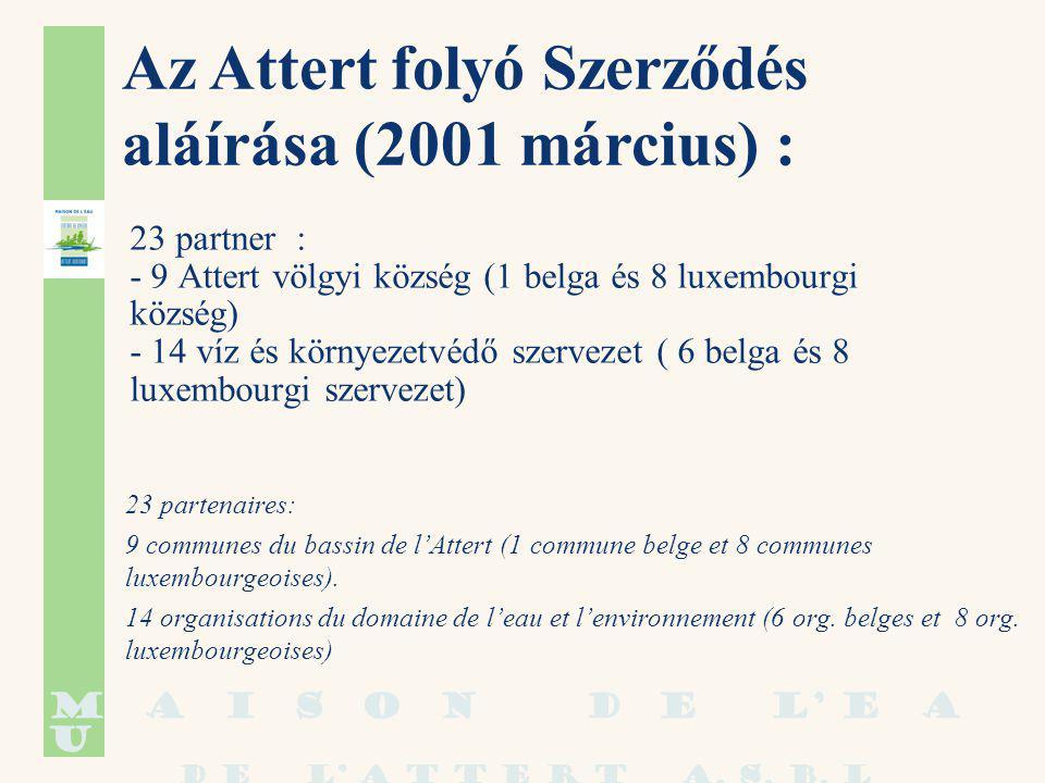 23 partner : - 9 Attert völgyi község (1 belga és 8 luxembourgi község) - 14 víz és környezetvédő szervezet ( 6 belga és 8 luxembourgi szervezet) 23 partenaires: 9 communes du bassin de l'Attert (1 commune belge et 8 communes luxembourgeoises).