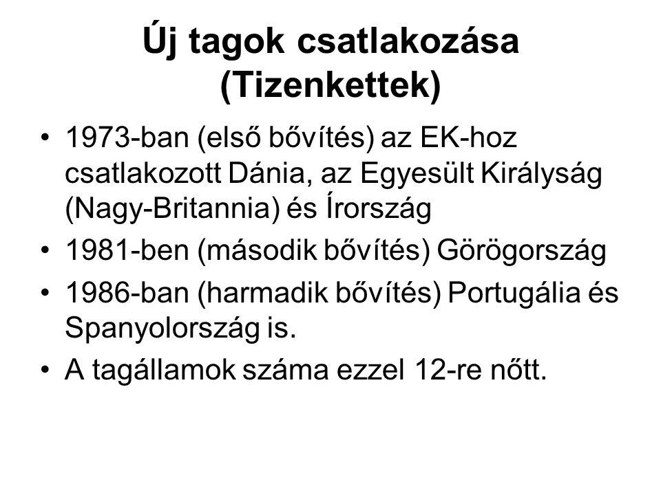 Új tagok csatlakozása (Tizenkettek) •1973-ban (első bővítés) az EK-hoz csatlakozott Dánia, az Egyesült Királyság (Nagy-Britannia) és Írország •1981-be
