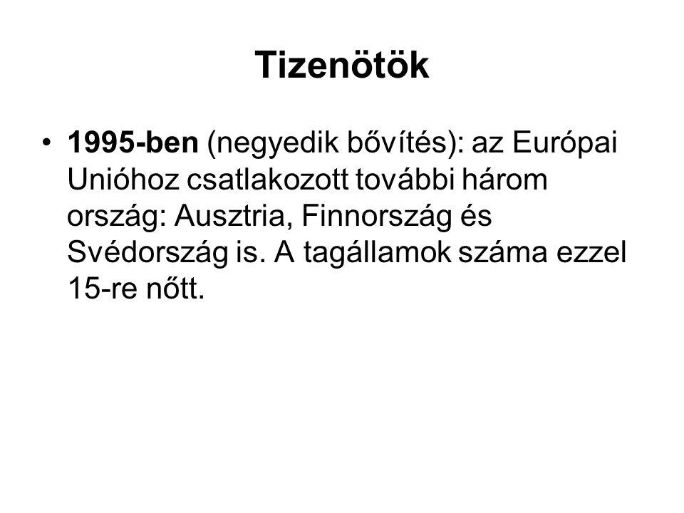 Tizenötök •1995-ben (negyedik bővítés): az Európai Unióhoz csatlakozott további három ország: Ausztria, Finnország és Svédország is. A tagállamok szám