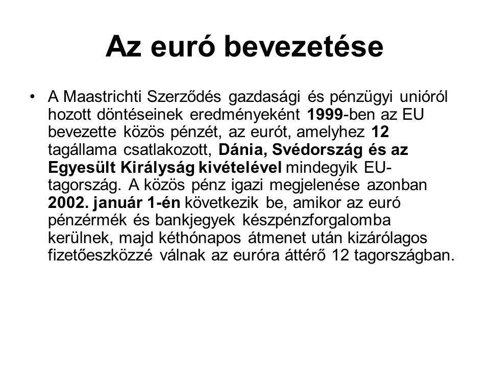Az euró bevezetése •A Maastrichti Szerződés gazdasági és pénzügyi unióról hozott döntéseinek eredményeként 1999-ben az EU bevezette közös pénzét, az e
