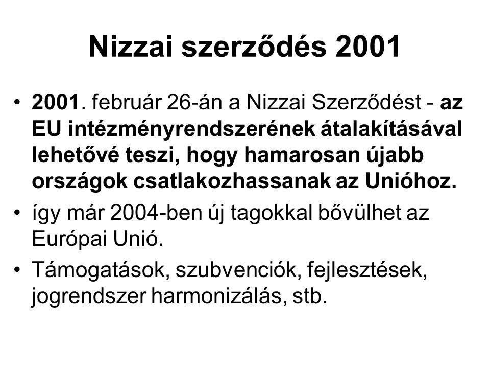 Nizzai szerződés 2001 •2001. február 26-án a Nizzai Szerződést - az EU intézményrendszerének átalakításával lehetővé teszi, hogy hamarosan újabb orszá