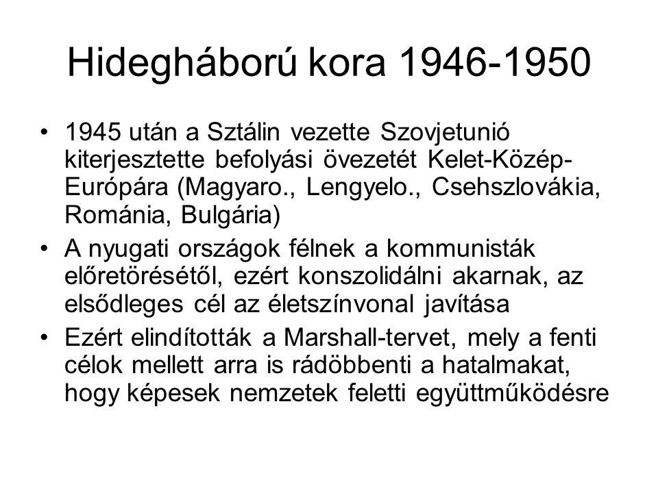 Hidegháború kora 1946-1950 •1945 után a Sztálin vezette Szovjetunió kiterjesztette befolyási övezetét Kelet-Közép- Európára (Magyaro., Lengyelo., Cseh