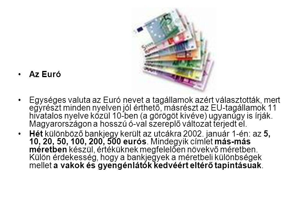 •Az Euró •Egységes valuta az Euró nevet a tagállamok azért választották, mert egyrészt minden nyelven jól érthető, másrészt az EU-tagállamok 11 hivata