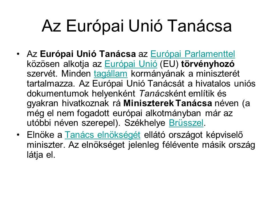 Az Európai Unió Tanácsa •Az Európai Unió Tanácsa az Európai Parlamenttel közösen alkotja az Európai Unió (EU) törvényhozó szervét. Minden tagállam kor