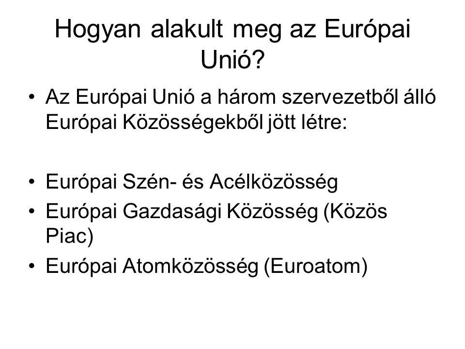 Hogyan alakult meg az Európai Unió? •Az Európai Unió a három szervezetből álló Európai Közösségekből jött létre: •Európai Szén- és Acélközösség •Európ