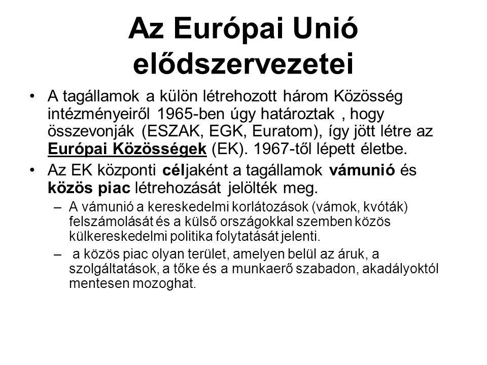 Az Európai Unió elődszervezetei •A tagállamok a külön létrehozott három Közösség intézményeiről 1965-ben úgy határoztak, hogy összevonják (ESZAK, EGK,