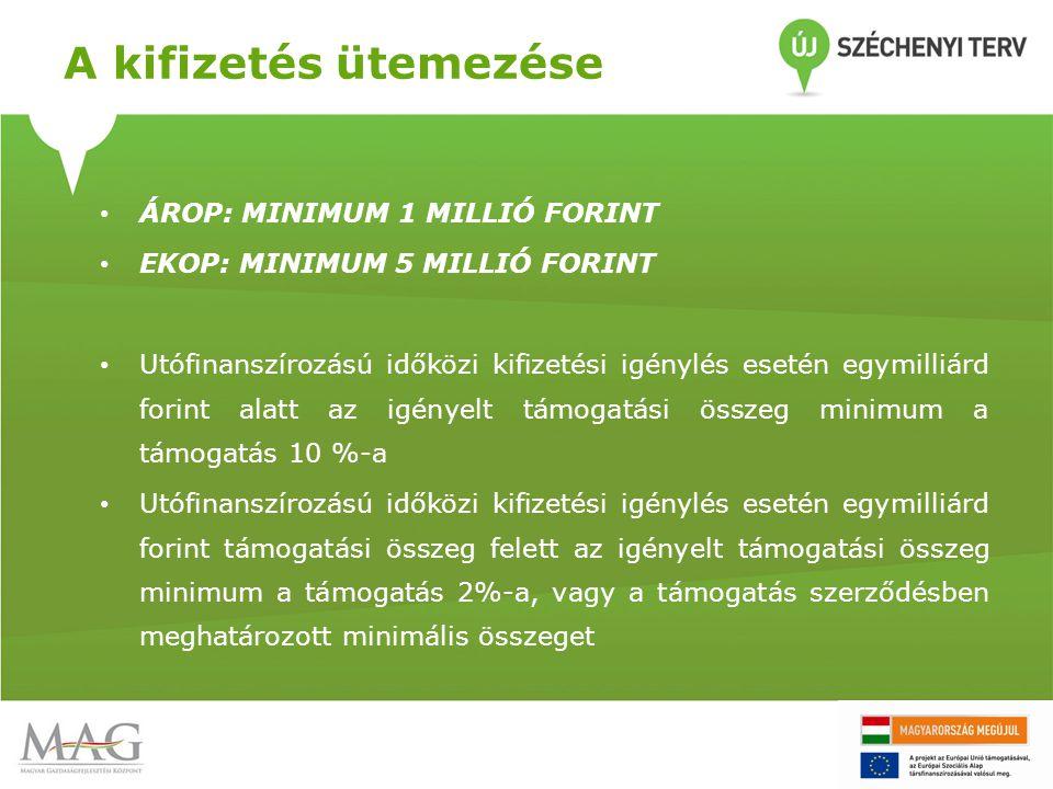 A kifizetés ütemezése • ÁROP: MINIMUM 1 MILLIÓ FORINT • EKOP: MINIMUM 5 MILLIÓ FORINT • Utófinanszírozású időközi kifizetési igénylés esetén egymilliá