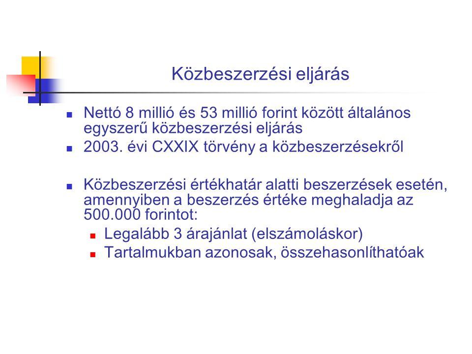 Közbeszerzési eljárás  Nettó 8 millió és 53 millió forint között általános egyszerű közbeszerzési eljárás  2003. évi CXXIX törvény a közbeszerzésekr