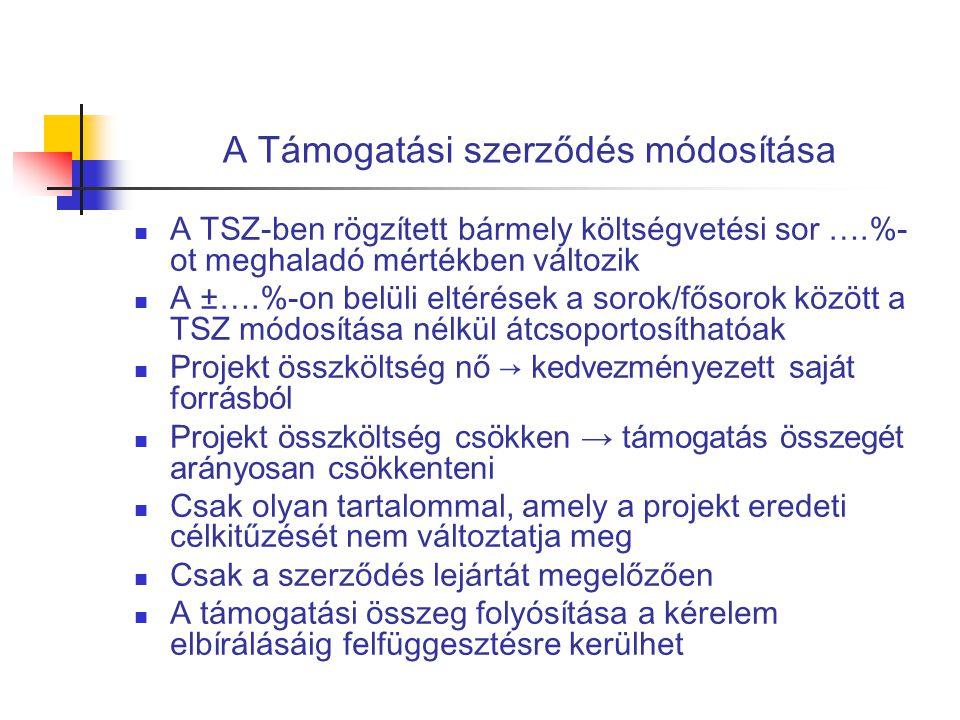 A Támogatási szerződés módosítása  A TSZ-ben rögzített bármely költségvetési sor ….%- ot meghaladó mértékben változik  A ±….%-on belüli eltérések a