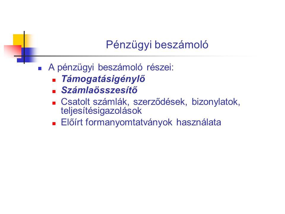 Támogatásigénylő  Teljesítés időpontja:  Előleg: 2009.