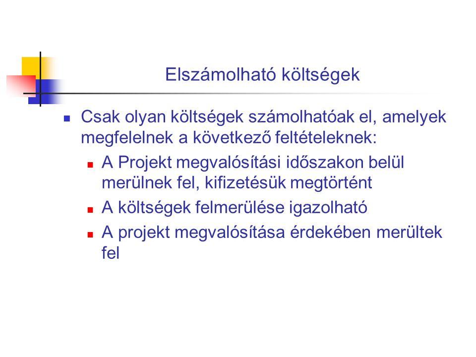 Elszámolható költségek  Csak olyan költségek számolhatóak el, amelyek megfelelnek a következő feltételeknek:  A Projekt megvalósítási időszakon belü