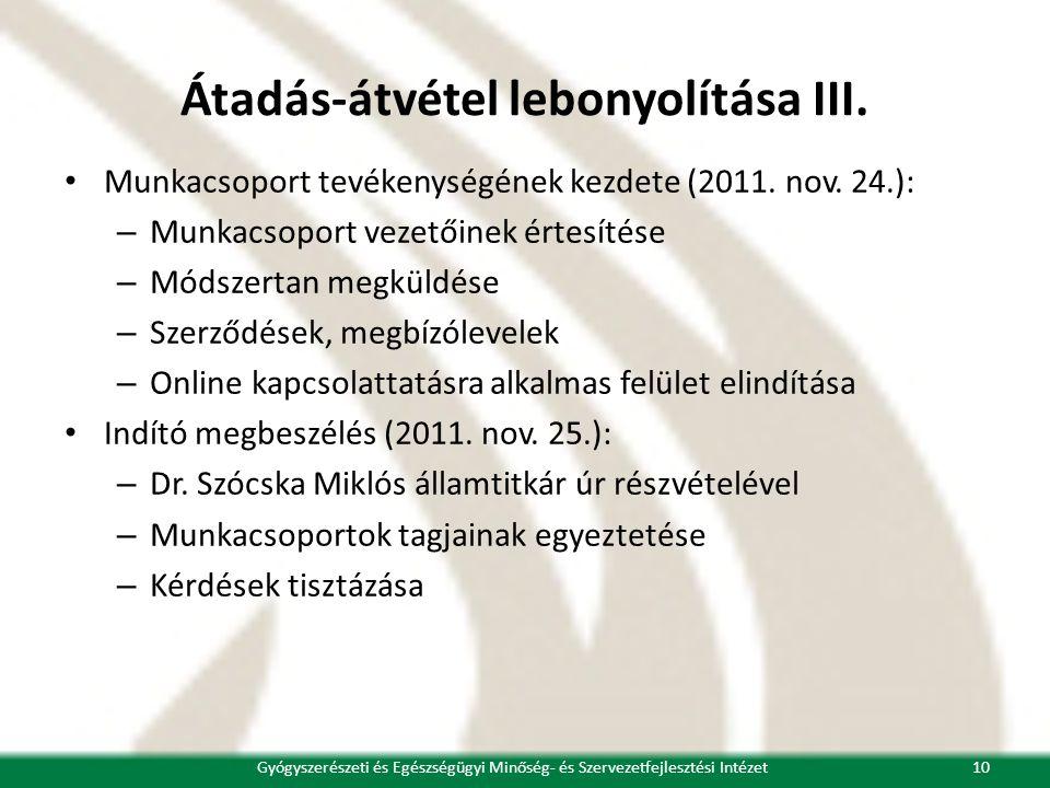 Átadás-átvétel lebonyolítása III. • Munkacsoport tevékenységének kezdete (2011. nov. 24.): – Munkacsoport vezetőinek értesítése – Módszertan megküldés
