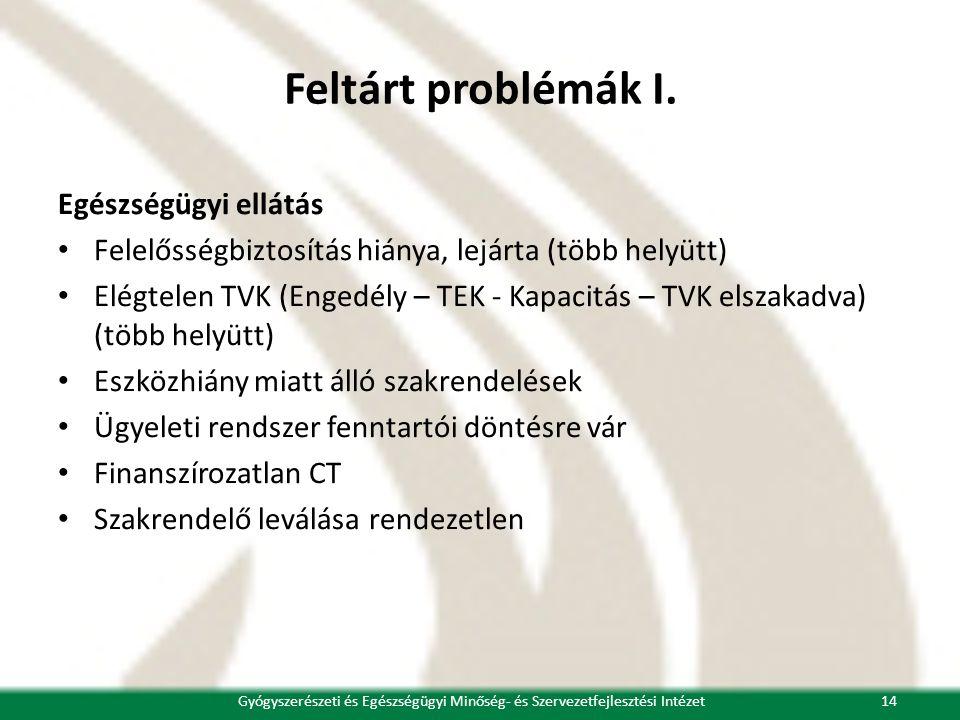 Feltárt problémák I. Egészségügyi ellátás • Felelősségbiztosítás hiánya, lejárta (több helyütt) • Elégtelen TVK (Engedély – TEK - Kapacitás – TVK elsz