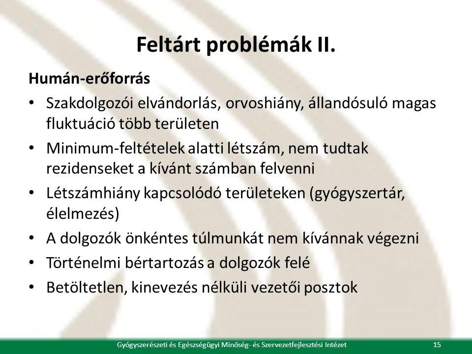 Feltárt problémák II. Humán-erőforrás • Szakdolgozói elvándorlás, orvoshiány, állandósuló magas fluktuáció több területen • Minimum-feltételek alatti