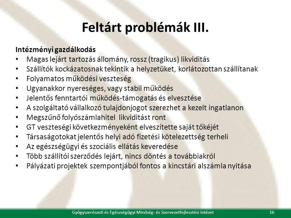 Feltárt problémák III.