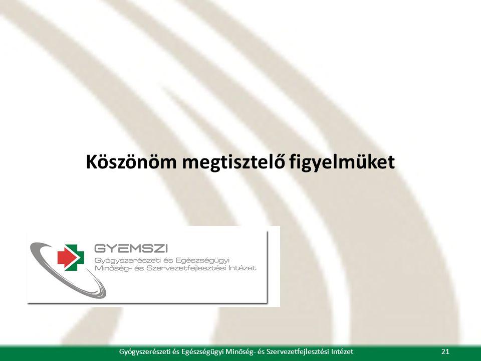 Köszönöm megtisztelő figyelmüket 21Gyógyszerészeti és Egészségügyi Minőség- és Szervezetfejlesztési Intézet