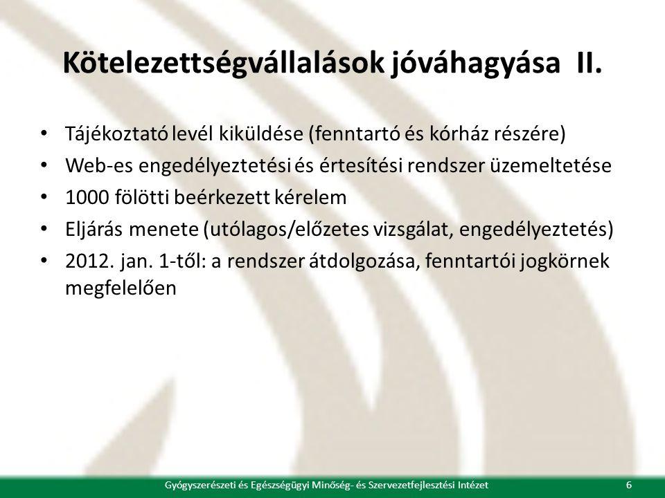 Kötelezettségvállalások jóváhagyása II. • Tájékoztató levél kiküldése (fenntartó és kórház részére) • Web-es engedélyeztetési és értesítési rendszer ü