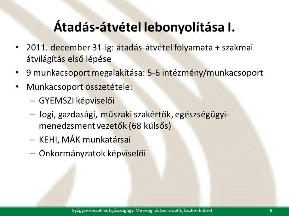 Átadás-átvétel lebonyolítása I. • 2011. december 31-ig: átadás-átvétel folyamata + szakmai átvilágítás első lépése • 9 munkacsoport megalakítása: 5-6