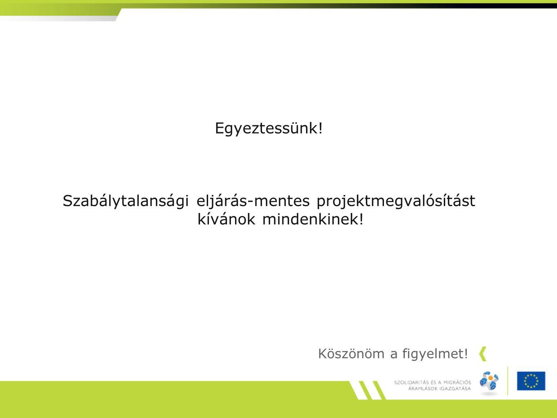Egyeztessünk! Szabálytalansági eljárás-mentes projektmegvalósítást kívánok mindenkinek! Köszönöm a figyelmet!